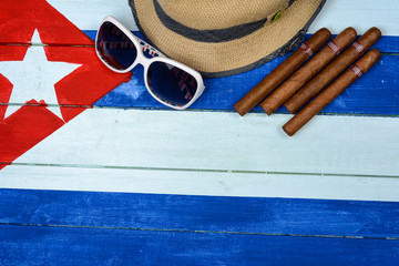 Cigars straw Panama hat and sun glasses