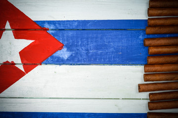 Cigars on painted Cuban national flag