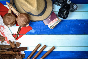 Cuba cigars and music instrument