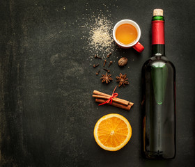 Mulled wine recipe ingredients on chalkboard - warming drink