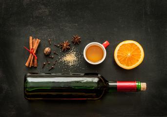 Mulled wine recipe ingredients on chalkboard - warming drink