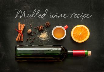 Mulled wine recipe ingredients on chalkboard - winter drink
