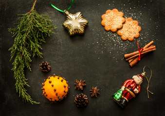 Christmas decorations on chalkboard - background layout