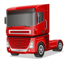 big red truck vector illustration