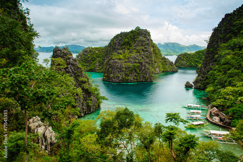 Leinwanddruck Bild landscape of Coron, Palawa, Philippines