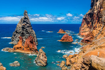 Volcanic rock-formations on East coast of Madeira-Portugal