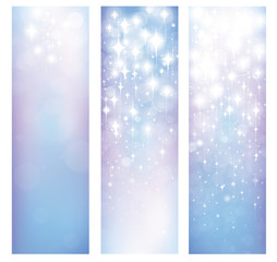 Vector abstract blue bokeh and stars patterns banners.