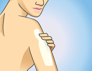 Focus shot of woman applying lotion on arm
