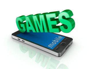 Smart phone and games . 3d concept