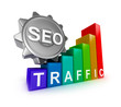 SEO concept with colorful graph.