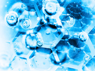 Science background illustration, bright blue chemical structure