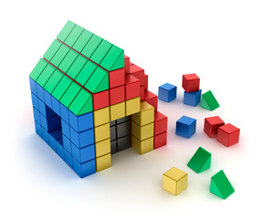 Construction of house from children's blocks. Isolated on white