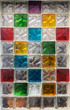 Colorful glass blocks in the window. Abstract background texture