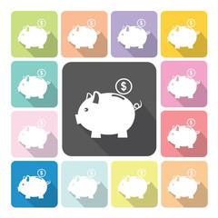 Piggy bank Icon color set vector illustration.