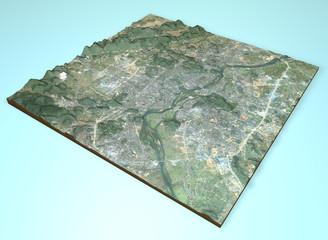 Vista satellitare città di Guilin, Cina, mappa, sezione 3d