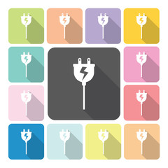 Electric plug Icon color set vector illustration.