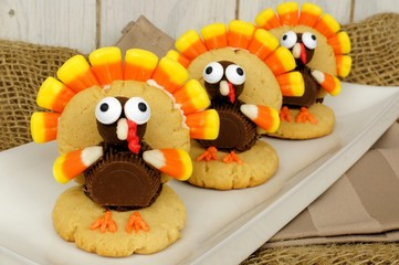 Homemade Thanksgiving turkey shaped cookies on a plate