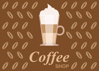 Coffee shop vector illustration, design elements