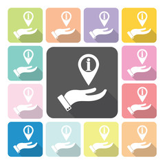 Hand cover information Icon color set vector illustration.