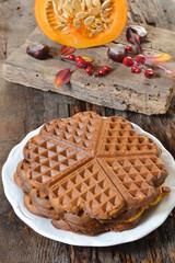 Belgium waffles with pumpkin. Autumn Belgium waffles