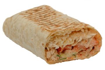 Cut shawarma or tortilla or burritos.Isolated on white