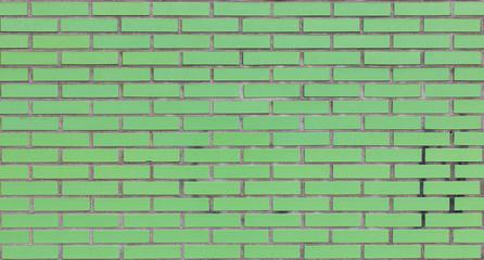 Green brick wall