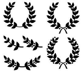 Set of silhouettes laurel wreaths