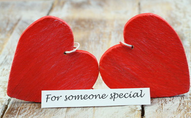 For someone special card with two red wooden hearts