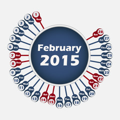 Vector calendar 2015 February template