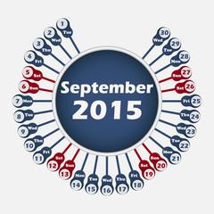 Vector calendar 2015 September template