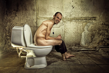 Ugly Man in Toilet