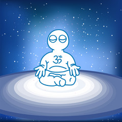 illustration of meditating person in space