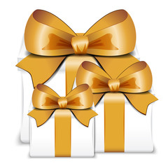 White Gift Boxes with Gold Ribbon