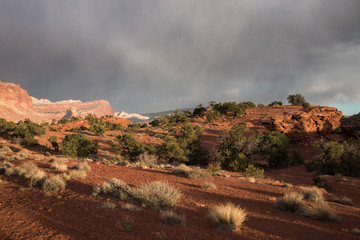 The Castle rock in Capitol Reef National Park during the coming