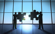 Leinwanddruck Bild - Business teamwork - puzzle pieces