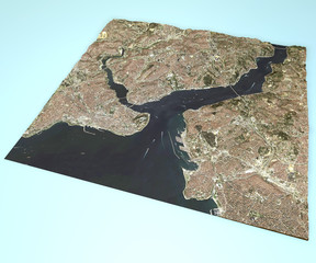 Vista satellitare Istanbul, Turchia, mappa, sezione 3d