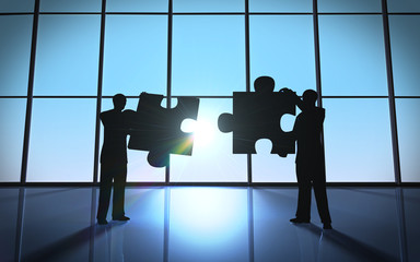 Business teamwork - puzzle pieces