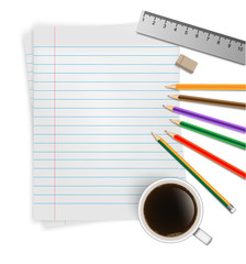 a blank stack of a4 paper, a pencil,a ruler and a coffee cup