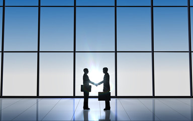 Two Business shake hand silhouettes