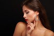 Beautiful woman makeup face profile with closed eyes