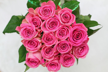 Wedding bouquet of pink roses with glitter