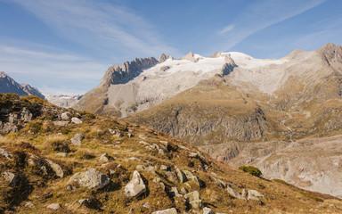 Riederalp, Bergdorf, Alpen, Fusshörner, Aletsch, Herbst, Schweiz