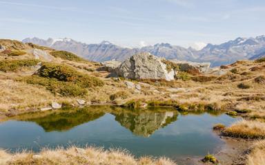 Bettmeralp, Dorf, Blausee, Alpen, Wallis, Herbst, Schweiz