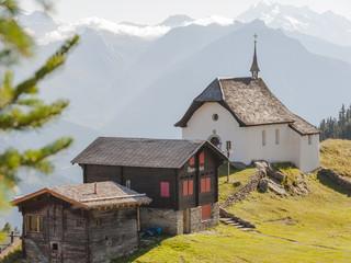 Bettmeralp, Feriendorf, Aletschgletscher, Kapelle, Schweiz