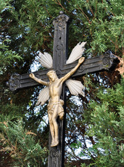 Detailed view of the cross of Jesus Christ
