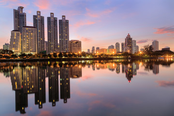 Benjasiri Park bangkok at twilinght