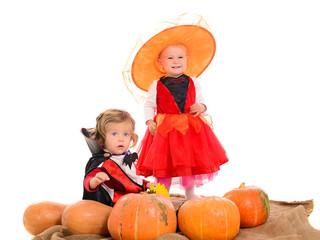 Halloween scene with children