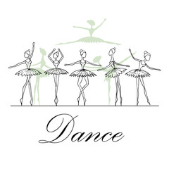 Vector illustration with fragile dancers in dance