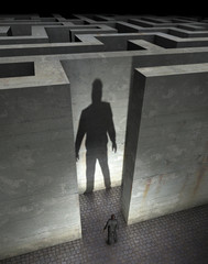 Labyrinth with man in front, entrance