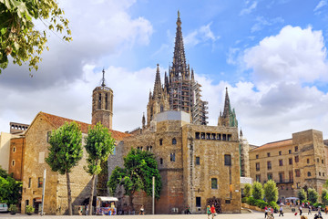 Beautiful historical landscape of the  Barcelona, Catalonia, Spa